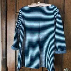 Coldwater Creek Tops - Coldwater Creek LightBlue/Navy Blue Striped Tunic